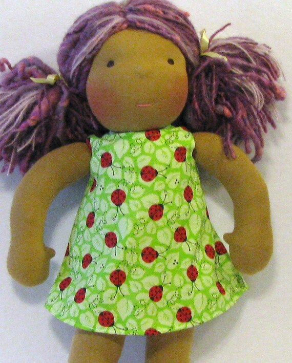 SALE -waldorf doll clothes 14 inch dress in ladybugs