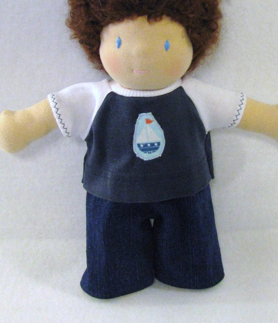Waldorf 10 inch doll upcycled knit shirt with sailboat patch and white sleeves