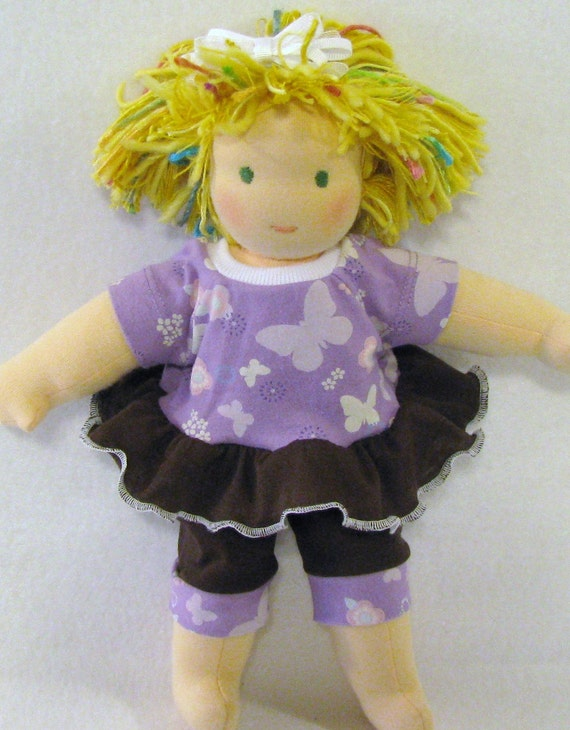 Waldorf 10 to  12 inch upcycled two piece purple outfit
