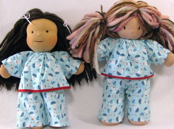 15 to 16 inch Waldorf doll's flannel sailboat pajamas