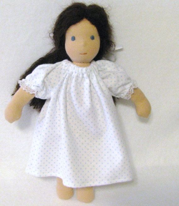 White flannel nightgown with blue polka dots for 10 to 12 inch waldorf doll