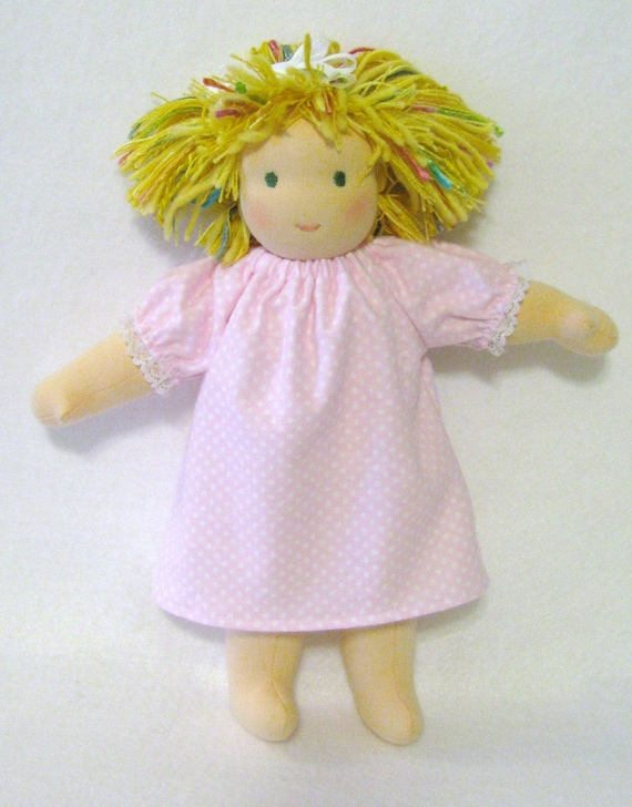 Pink polka dot flannel nightgown for  10 to 12 inch waldorf doll
