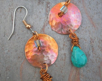 Copper and Turquoise Earrings with Teardrop Stone