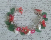 Apple Blossoms and Fresh Water Pearls Charm Bracelet