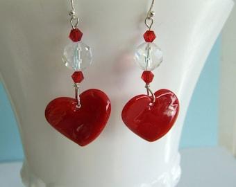 Reduced, Handmade Red Heart Earrings, Sterling Earwires