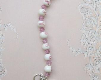 Handmade Pink Ribbon Awarenes Bracelet
