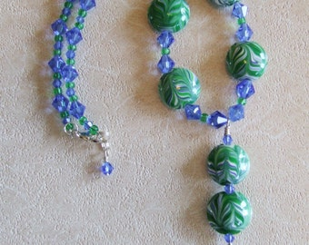 Reduced, Blue Green Rippling Water Necklace