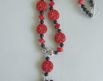 Handmade Cinnabar and Coral Necklace