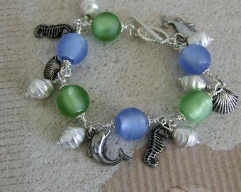 Sea Life Charm Bracelet, Sea Creatures Charm Bracelet, Blue and Green Lampwork Bracelet, Wire Wrapped Bracelet
