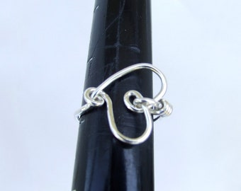Valentine Ring,-  Wire Wrapped Silver Heart Ring
