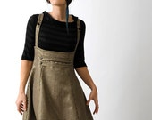 High waisted jumper skirt with suspenders -Black and Gold vintage houndstooth - sz M - Paneled underbust skirt