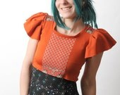 Cropped orange Top with vintage red cotton - SALE -   wing sleeves - sz S-M