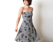 Grey Floral Dress, strapless Grey, Red and Black -  Opera party dress - Size S