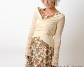 Ivory white Wrap Shrug - Long sleeved - cream white Jersey and lace - Transformable