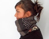 Patchwork Cowl Scarf - Grey, Purple, White, Dots, Plaid... - OOAK Fall fashion