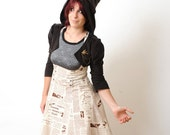 High waisted skirt with suspenders - Newspaper print - sz M - Paneled underbust jumper skirt