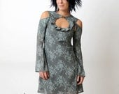Blue Lace Print dress - Louise dress in grey blue - removable sleeves - sz S
