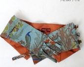 Peacock print belt - blue and burnt orange with snaps - couture - spring accessory - sz S