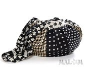 Black and white purse - handbag in golden, white, black patchwork  - flowers and stars - OOAK