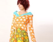 Orange Wrap shrug - floral orange, white and turquoise jersey - Transformable - Summer fashion - Size M