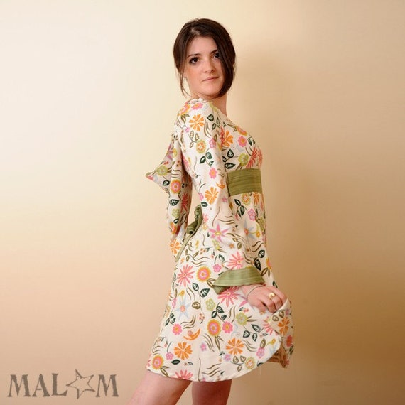Floral Babydoll Goblin Hood dress with Long sleeves sz M  - by MALAM - France