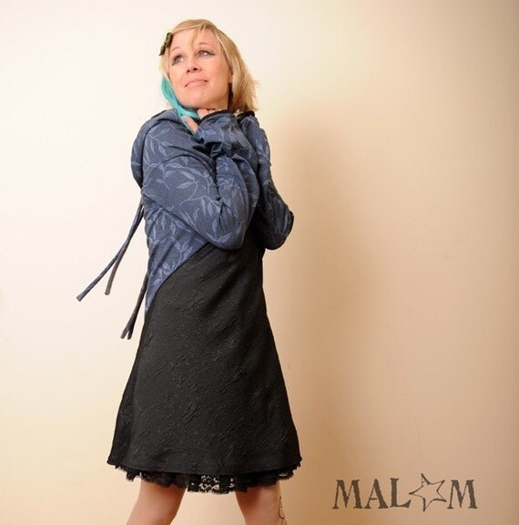 Strap Wrap Shrug in Dark Teal blue with flowers - Long sleeves  - Sz M