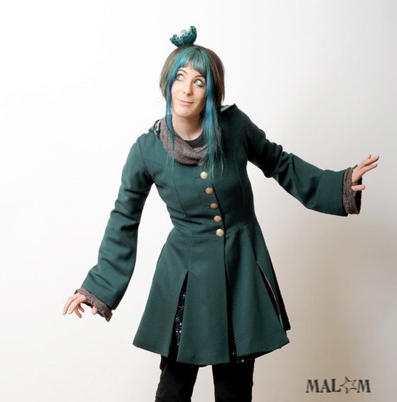 SALE Goblin Hood Frock Coat - Green and Bright Stripes