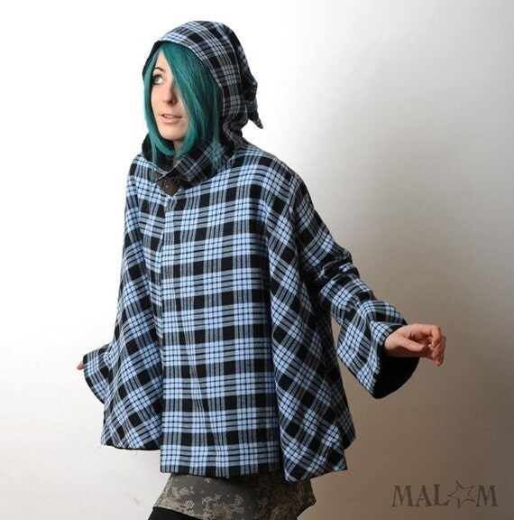 Blue hooded cape coat with goblin hood and flared sleeves - Light blue and grey plaid cape - sz S-M