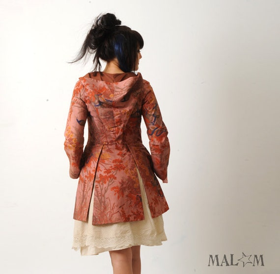Reserved pink hooded jacket handdyed peacock print and by malam - Shabby chic outfit ideas ...