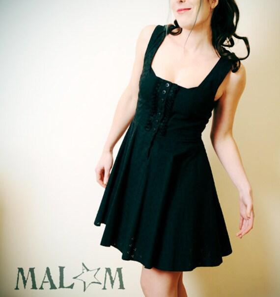 RESERVED JO Black hooded Dress - Little Black Dress, Eyelet and Goblin hood -  sz US 10