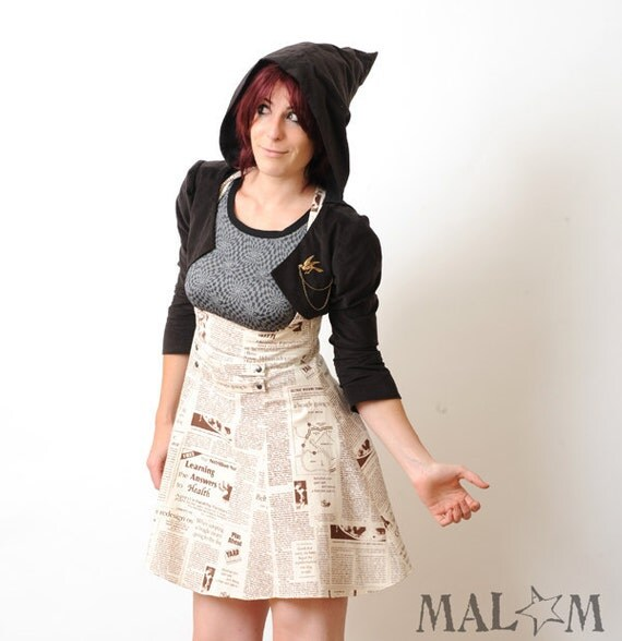 high waisted skirt with suspenders newspaper print sz m