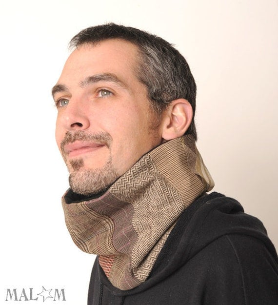 brown fabric patchwork neckwarmer as an ideal gift for men
