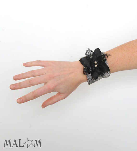 Black Lace Cuff - black lace bracelet, flower - Couture Fashion accessory - Grey lace print and black flower CYBER MONDAY
