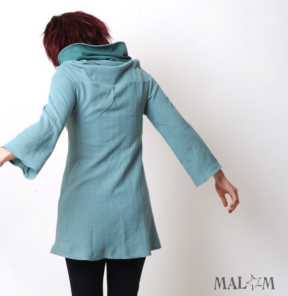 Aqua blue knit sweater tunic - Long jumper with wide cowl and straight sleeves