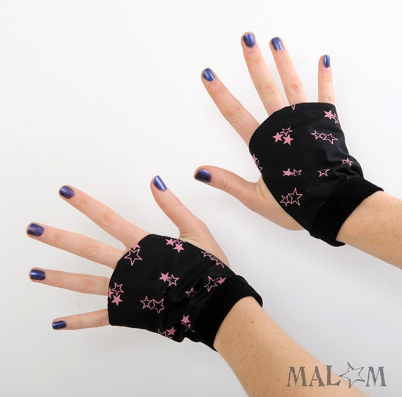 Fingerless Gloves  - Pink galaxy stars on black
