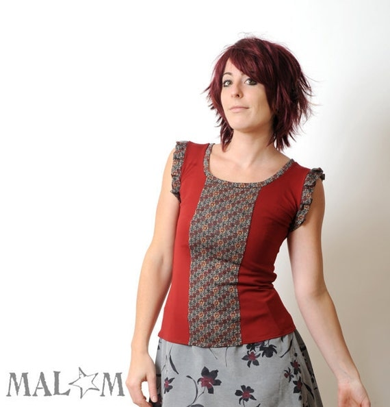 Red top  - grey, red, gold jersey -  long tank top - pleated sleeves - size S-M