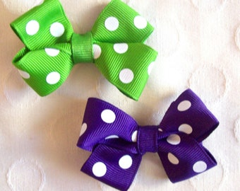 Polka Dot Bitty Bows - You Pick Colors