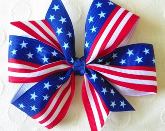 Red White and Blue Pinwheel Bow
