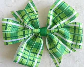 Green Plaid Pinwheel Bow