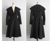 1940s vintage black wool princess winter coat