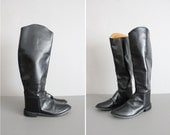 vintage classic black leather equestrian riding boots 9.5 10