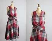 1970s vintage cranberry plaid vest and skirt set