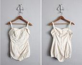 1940s vintage talc white bombshell swimsuit