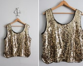 1980s vintage gold sequined silk tank top