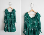 1970s vintage midnight green sheer floral ruffle dress