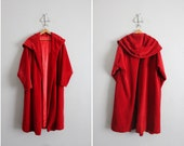 final sale / 1930s vintage red velvet hooded coat