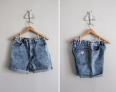 1980s vintage distressed Guess denim shorts