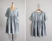 RESERVED vintage silk blue floral babydoll dress