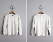 vintage white nubby pocket sweater