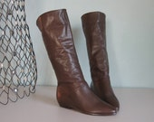 vintage SLOUCHY CHOCOLATE leather PIRATE BOOTS